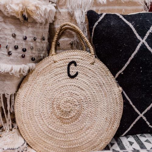 Raffia bag inital marrakech morocco